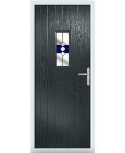The Taunton Composite Door in Grey (Anthracite) with Blue Crystal Bohemia