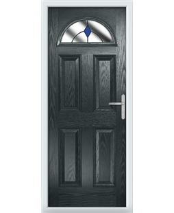 The Derby Composite Door in Grey (Anthracite) with Blue Diamonds