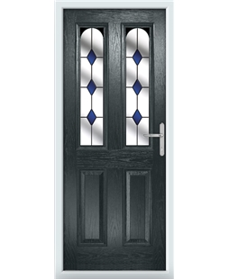 The Aberdeen Composite Door in Grey (Anthracite) with Blue Diamonds