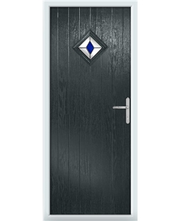 The Reading Composite Door in Grey (Anthracite) with Blue Diamonds