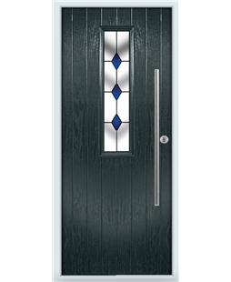 The York Composite Door in Grey (Anthracite) with Blue Diamond