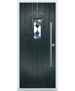 The Zetland Composite Door in Grey (Anthracite) with Blue Diamonds