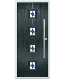 The Leicester Composite Door in Grey (Anthracite) with Blue Diamonds