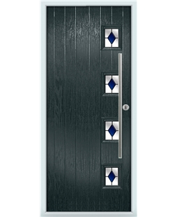 The Norwich Composite Door in Grey (Anthracite) with Blue Diamonds