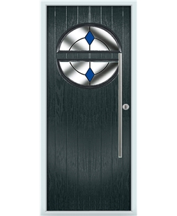 The Xenia Composite Door in Grey (Anthracite) with Blue Diamonds
