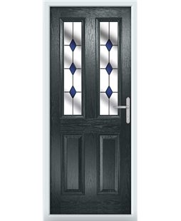 The Cardiff Composite Door in Grey (Anthracite) with Blue Diamonds