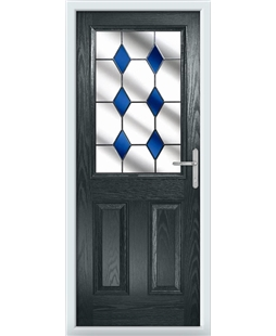 The Farnborough Composite Door in Grey (Anthracite) with Blue Diamonds