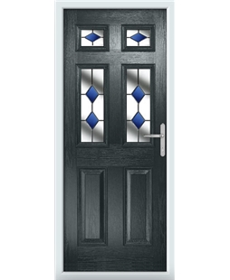 The Oxford Composite Door in Grey (Anthracite) with Blue Diamonds