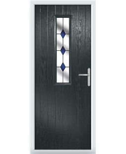 The Sheffield Composite Door in Grey (Anthracite) with Blue Diamonds