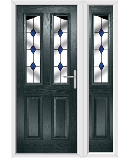 The Birmingham Composite Door in Grey (Anthracite) with Blue Diamonds and matching Side Panel