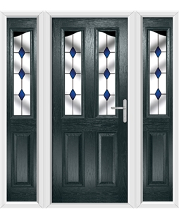 The Birmingham Composite Door in Grey (Anthracite) with Blue Diamonds and matching Side Panels
