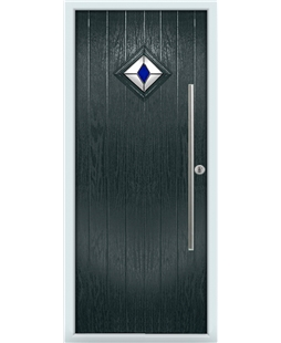 The Wolverhampton Composite Door in Grey (Anthracite) with Blue Diamond