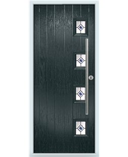 The Norwich Composite Door in Grey (Anthracite) with Blue Fusion Ellipse