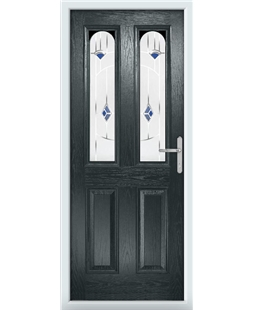 The Aberdeen Composite Door in Grey (Anthracite) with Blue Murano