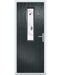 The Sheffield Composite Door in Grey (Anthracite) with Blue Murano