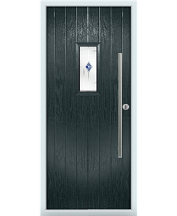 The Zetland Composite Door in Grey (Anthracite) with Blue Murano