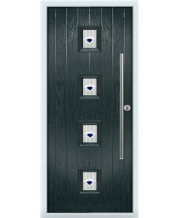 The Leicester Composite Door in Grey (Anthracite) with Blue Murano