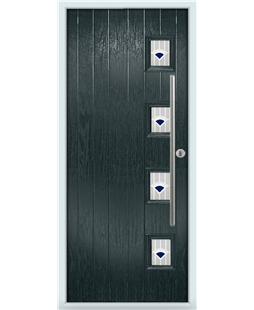 The Norwich Composite Door in Grey (Anthracite) with Blue Murano