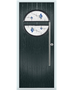 The Xenia Composite Door in Grey (Anthracite) with Blue Murano