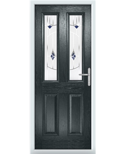The Cardiff Composite Door in Grey (Anthracite) with Blue Murano