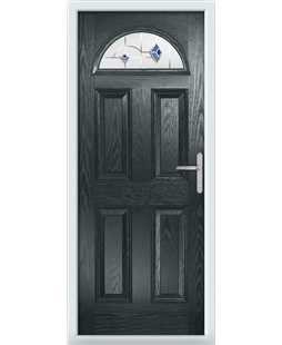The Derby Composite Door in Grey (Anthracite) with Blue Murano