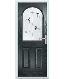 The Edinburgh Composite Door in Grey (Anthracite) with Blue Murano