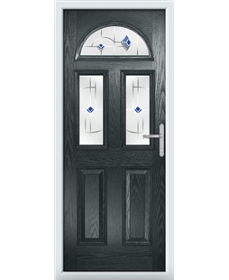 The Glasgow Composite Door in Grey (Anthracite) with Blue Murano