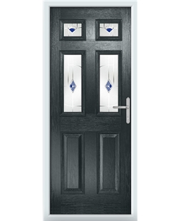 The Oxford Composite Door in Grey (Anthracite) with Blue Murano
