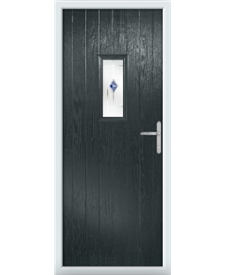 The Taunton Composite Door in Grey (Anthracite) with Blue Murano