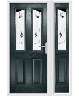 The Birmingham Composite Door in Grey (Anthracite) with Blue Murano and matching Side Panel