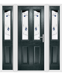 The Birmingham Composite Door in Grey (Anthracite) with Blue Murano and matching Side Panels