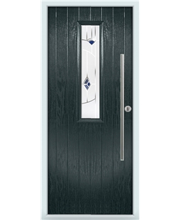 The York Composite Door in Grey (Anthracite) with Blue Murano