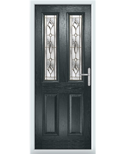 The Cardiff Composite Door in Grey (Anthracite) with Brass Art Clarity