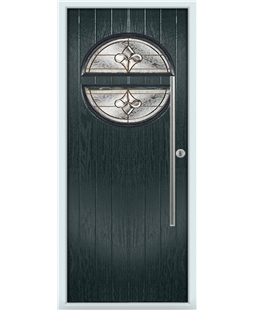 The Xenia Composite Door in Grey (Anthracite) with Brass Art Clarity
