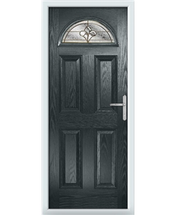 The Derby Composite Door in Grey (Anthracite) with Brass Art Clarity