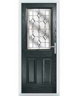 The Farnborough Composite Door in Grey (Anthracite) with Brass Art Clarity