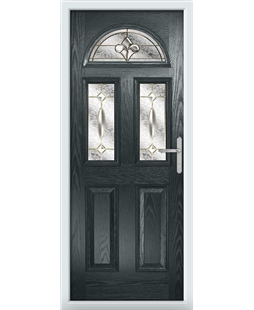 The Glasgow Composite Door in Grey (Anthracite) with Brass Art Clarity