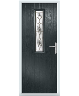 The Sheffield Composite Door in Grey (Anthracite) with Brass Art Clarity