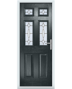 The Oxford Composite Door in Grey (Anthracite) with Brass Art Clarity