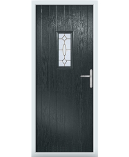 The Taunton Composite Door in Grey (Anthracite) with Brass Art Clarity