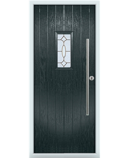 The Zetland Composite Door in Grey (Anthracite) with Brass Art Clarity