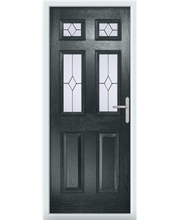 The Oxford Composite Door in Grey (Anthracite) with Classic Glazing