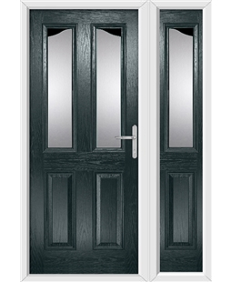 The Birmingham Composite Door in Grey (Anthracite) with Glazing and matching Side Panel