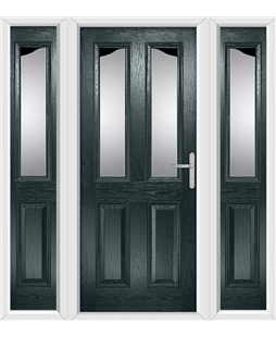 The Birmingham Composite Door in Grey (Anthracite) with Glazing and matching Side Panels