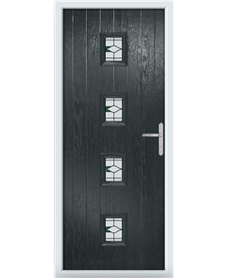 The Uttoxeter Composite Door in Grey (Anthracite) with Barcelona Green