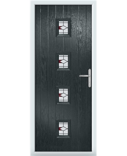 The Uttoxeter Composite Door in Grey (Anthracite) with Barcelona Red