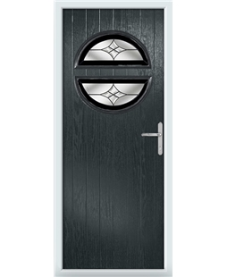The Queensbury Composite Door in Grey (Anthracite) with Black Crystal Harmony
