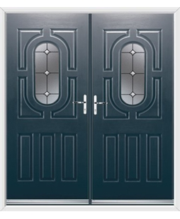 Arcacia French Rockdoor in Anthracite Grey with Crystal Bevel