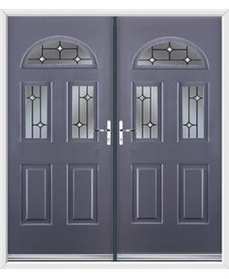 Tennessee French Rockdoor in Anthracite Grey with Crystal Bevel