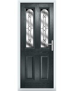 The Aberdeen Composite Door in Grey (Anthracite) with Crystal Bohemia
